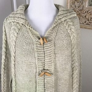 Vintage Hand Knit Cape Poncho Wool Fringed S/XS